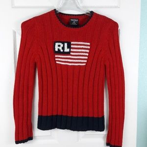 Ralph Lauren Red Sweater w/ American Flag